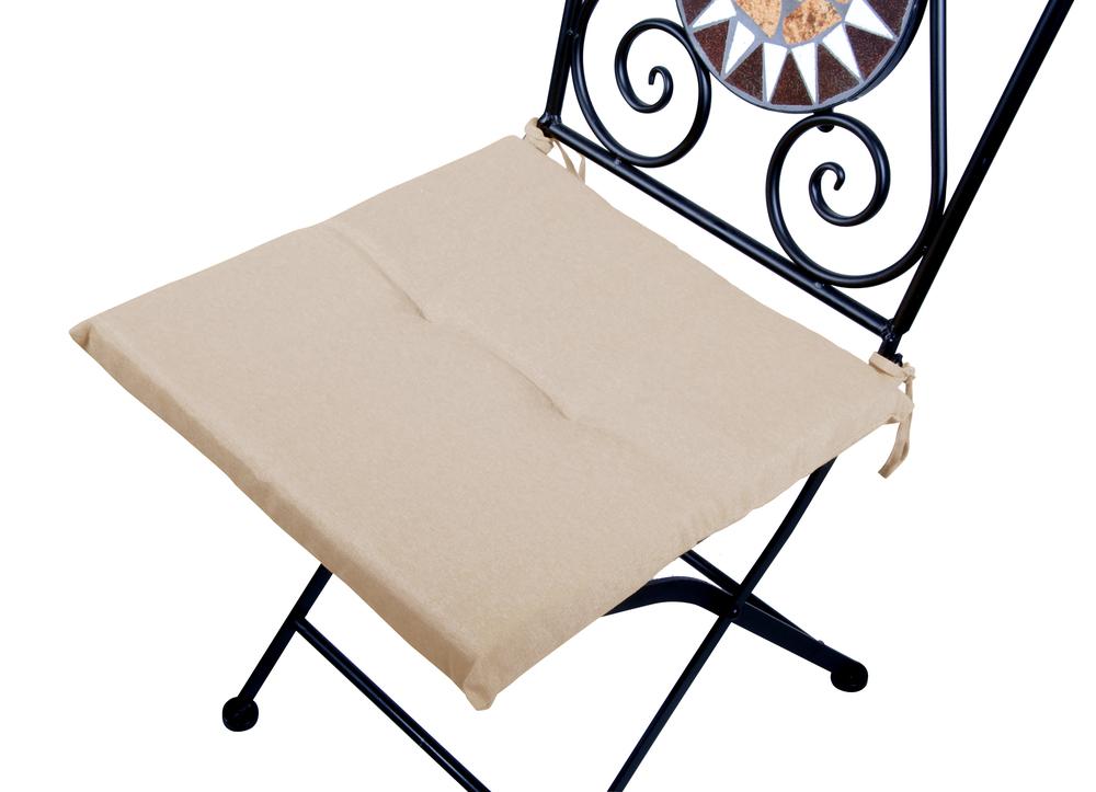 Dettagli su VERDELOOK Cuscino quadrato anti macchia sedia lacci una comoda seduta beige