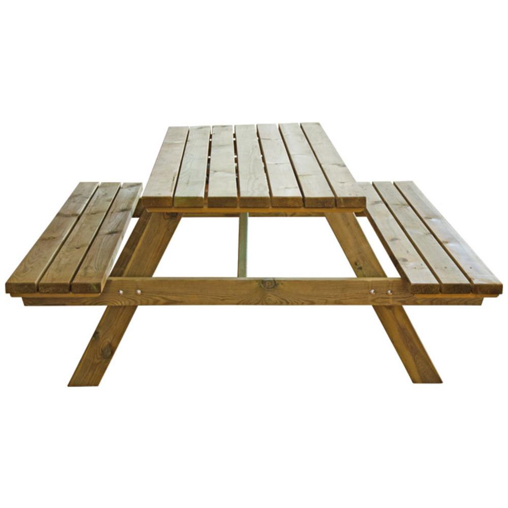 Tavolo da esterno con panche in legno
