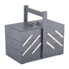 Cesto porta utensili in legno grigio 29x17,6 h18 con manico