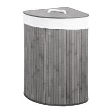 Cesto porta biancheria ad angolo grigio con coperchio e maniglie foderato