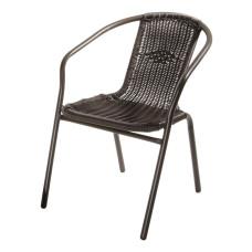 Sedia Ios con struttura in metallo e seduta e schienale in polyrattan