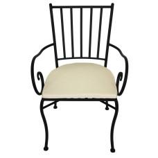 Sedia metallo con braccioli e cuscino 45x42x h.88c