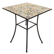 Tavolo Mosaico Metal Flower Design 80X80