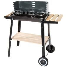 Barbecue in acciaio a carrello con ripiano