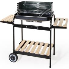 Barbecue in acciaio a carrello con due ripiani