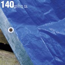 Telo Occhiellato 140gr/mq colore Blu/Verde Plus 4x5m