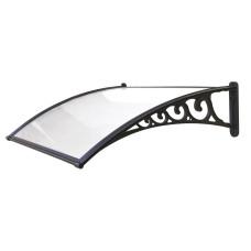 Pensilina Naxos Copertura compatta profili nero e copertura satinato dimensioni 120x100cm