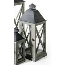 Lanterna Arles media in legno e metallo grigio