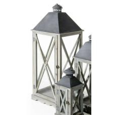 Lanterna Arles grande in legno e metallo grigio