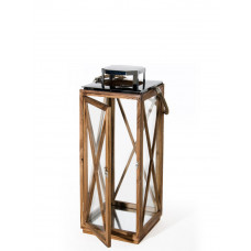 Lanterna Goa media in legno con top in metallo cromato e vetri laterali